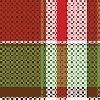 赤い緑の抽象的な格子縞のシームレスなピクセルパターン