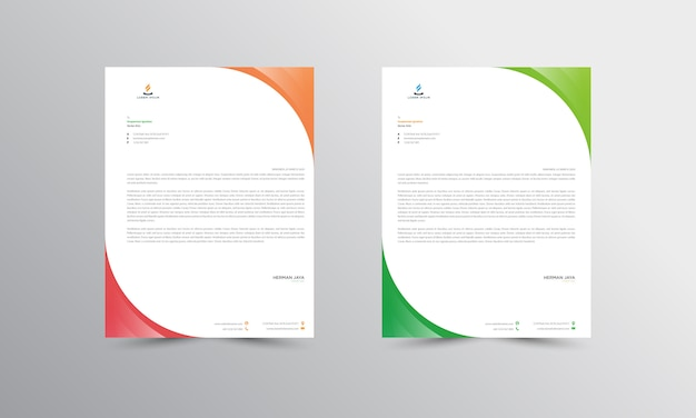 Red and green abtract letterhead  template