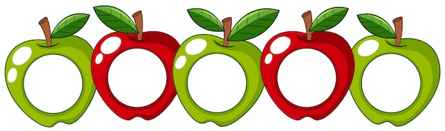 Red and green apples with white badge on