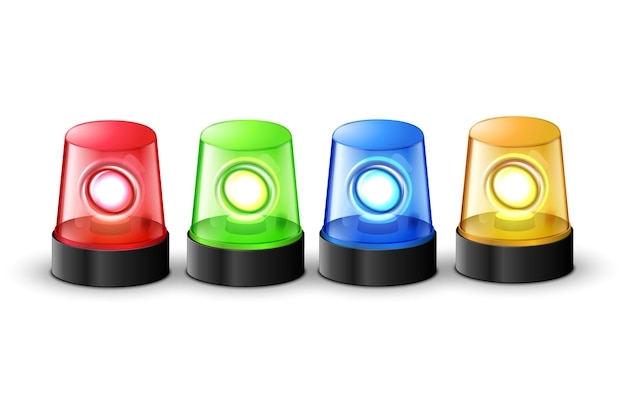 Red green blue and yellow flashing police beacon alarm