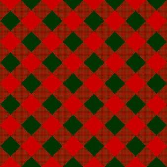 Red green check diagonal textile seamless pattern