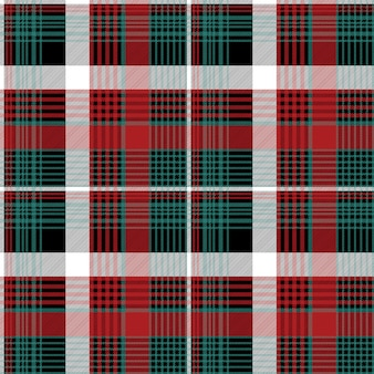 Red green check plaid seamless pattern