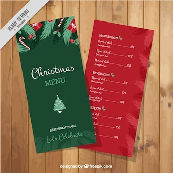 Red and green christmas menu template