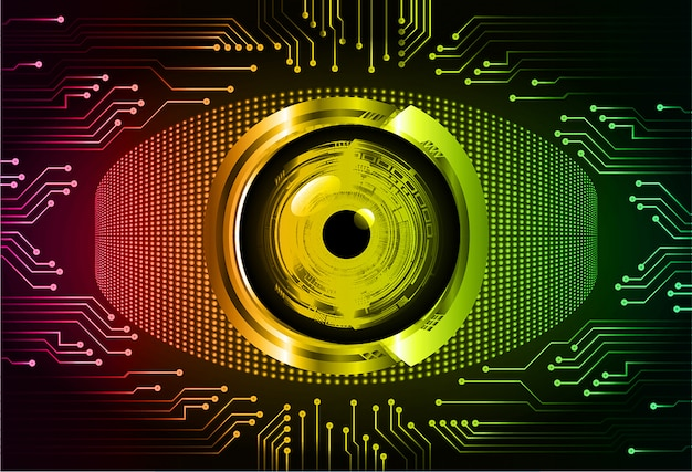 赤い緑目サイバー回路未来技術コンセプトの背景