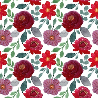 Red and green floral watercolor seamless pattern
