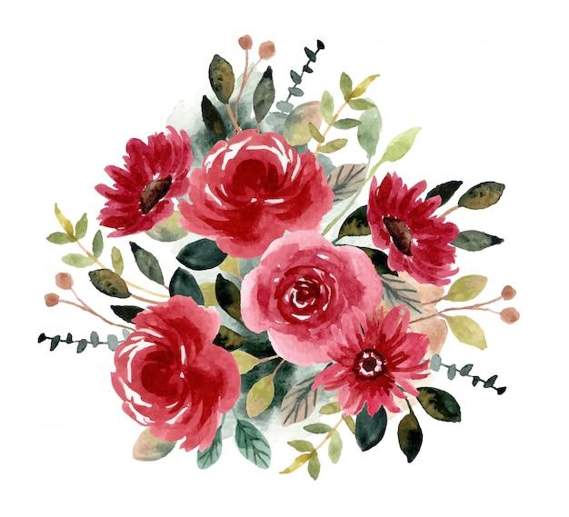 Красный зеленый цветочный сад акварель композиция
