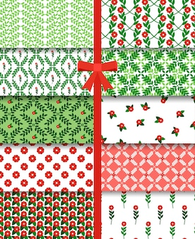 Red and green flowers and branches simple seamless pattern set.