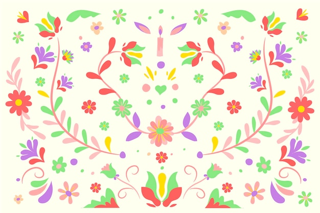 Red and green flowers with leaves mexican background