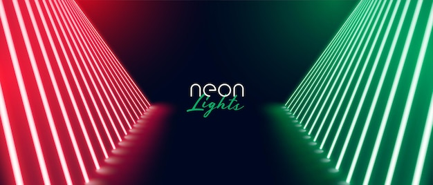 Red green neon stage path floor banner design