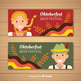 Red and green oktoberfest banners