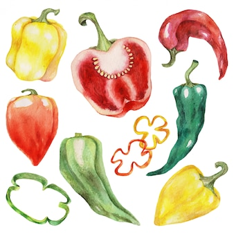Red and green peppers isolated