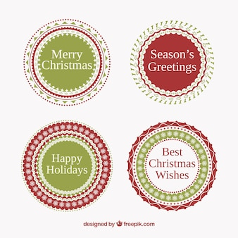 Red and green round christmas stickers