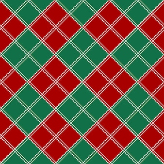 Red green white chess board christmas background.