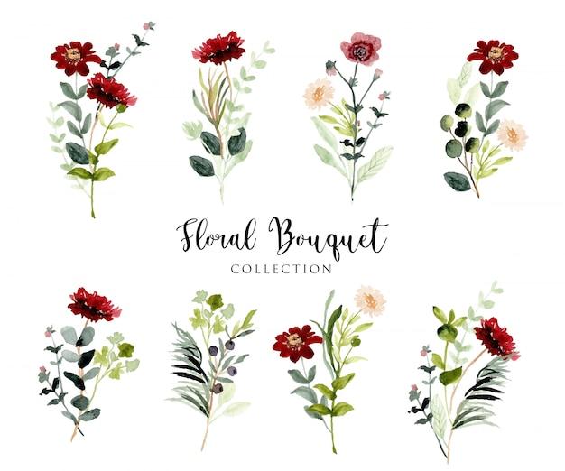 Красный зеленый дикий цветочный букет акварель коллекция