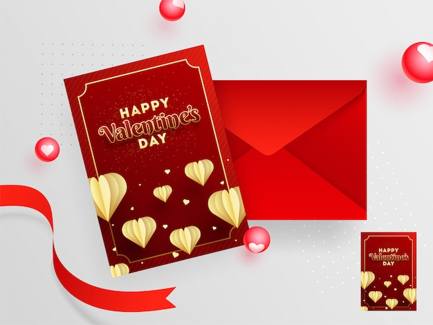 Red greeting card design with envelope for valentine's day celebration