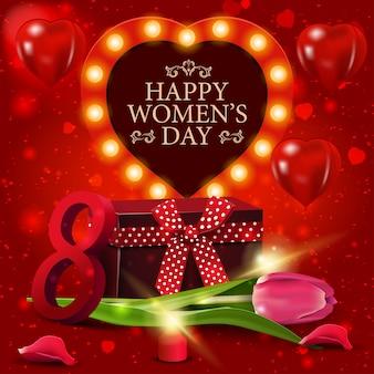 선물 및 튤립 여성의 날에 대 한 빨간 인사말 카드