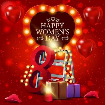선물 및 화환으로 여성의 날을위한 빨간 인사말 카드