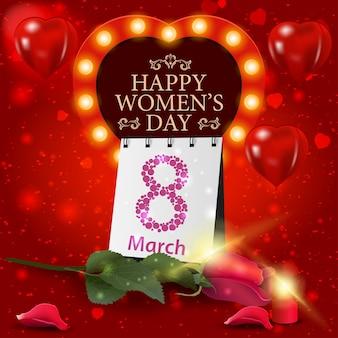 장미와 달력 여성의 날 빨간 인사말 카드