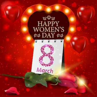 Red greeting card for women's day with rose and calendar