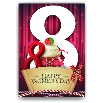 Red greeting card for women's day