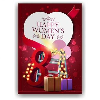 선물 및 화 환으로 여성의 날에 대 한 빨간 인사 엽서