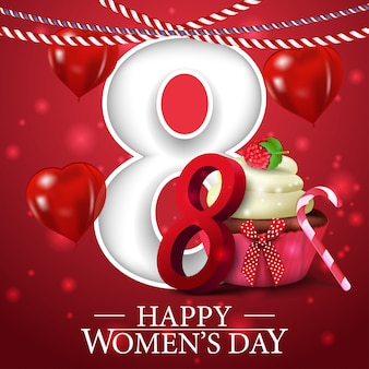 Red greeting postcard for women's day