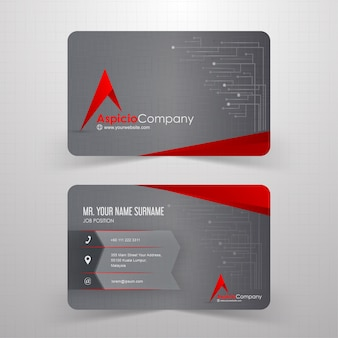 Red and grey abstract business card with technological background