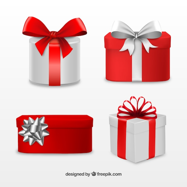 Red and grey christmas gifts collection