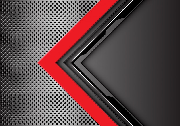 Red grey circuit arrow direction metal circle mesh background.