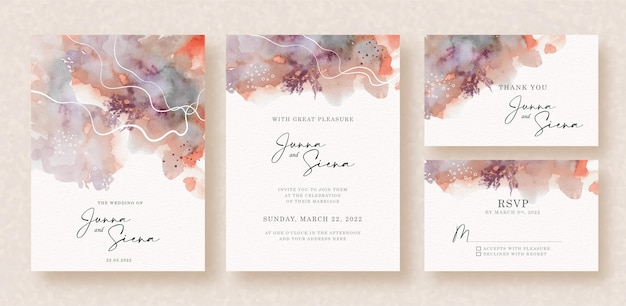Red and grey cloudy abstract splash watercolor on wedding invitation