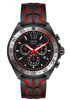 Red grey steel watch clock chronograph on white.