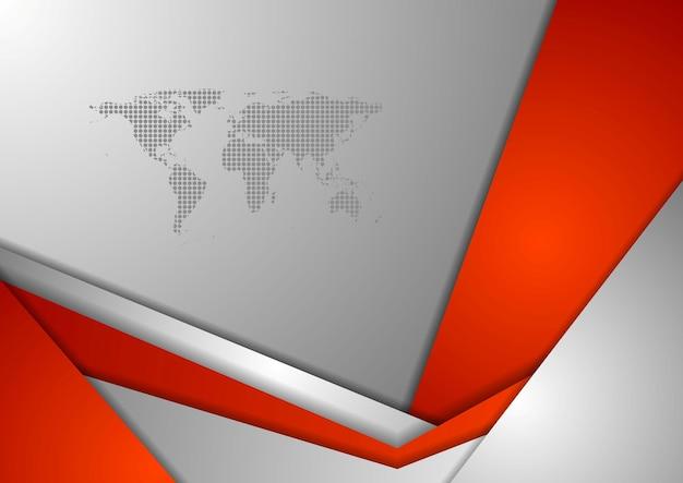 Red grey tech corporate background wirh world map. vector design