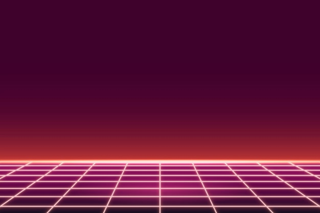 Red grid neon patterned background