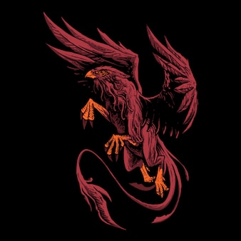 Red griffin myth illustration