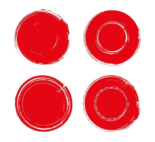 Red grunge round stamps