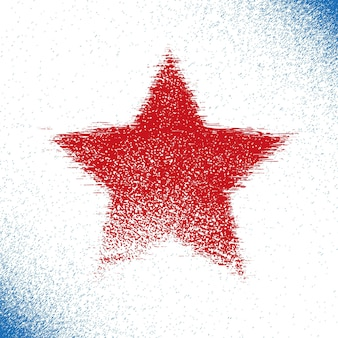 Red grunge stars of american with torn edges