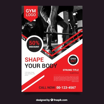 Red gym flyer template with image
