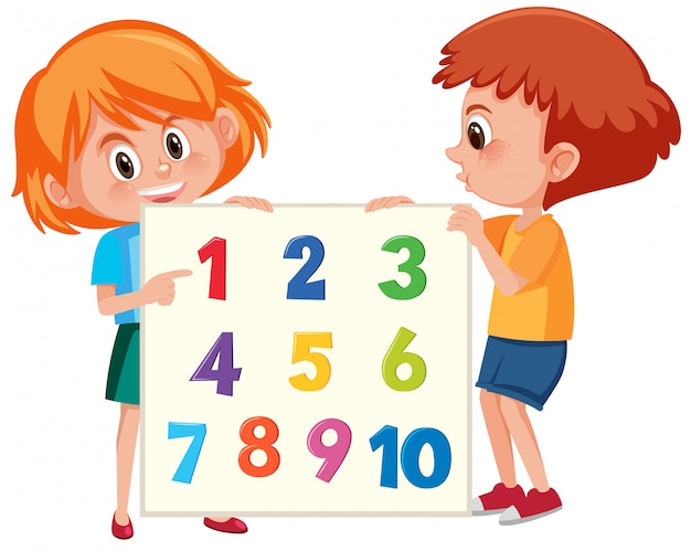 Red hair children holding number