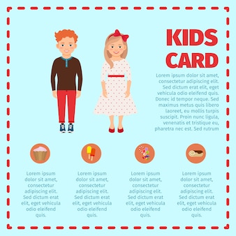 Red hair kids card infographic template