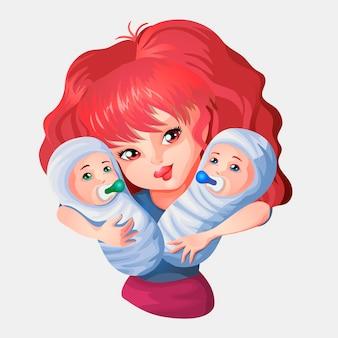 Женщина с красными волосами обнимает младенцев. двое младенцев на руках. векторные иллюстрации в мультяшном стиле для дня матери или другого.