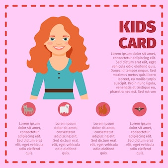 Red hair young girl infographic card