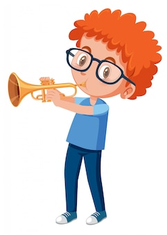 Red haired boy playing trumpet