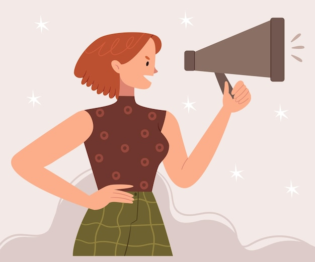 スピーカーと赤毛の少女。女性は自分の権利を叫びます。