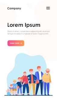 Рыжий мужчина в разном возрасте. подросток, младенчество, отец. цикл роста и концепция генерации веб-дизайна или целевой веб-страницы