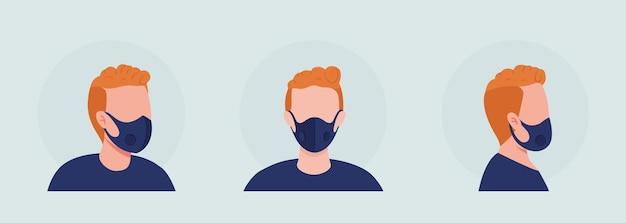 Рыжий полу-плоский цветной векторный персонаж аватар с набором масок. портрет с респиратором спереди и сбоку. изолированная иллюстрация современного мультяшного стиля для графического дизайна и анимации
