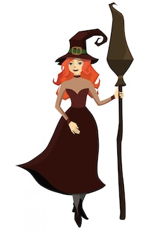 Red-haired witch with a broom in his hand. isolate on white background.  illustration.
