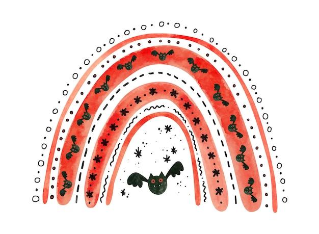 박쥐와 빨간 할로윈 무지개입니다. 어린이 할로윈을 위한 귀여운 수채화 그림입니다.