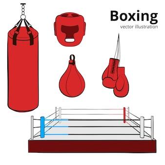 赤い手描きのボクシング装置。ボクシンググローブ、ヘルメット、パンチングバッグ、ボクシングリング、パンチングボール。白のイラスト