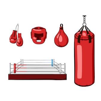 赤い手描きのボクシング装置。ボクシンググローブ、ヘルメット、パンチングバッグ、ボクシングリング、パンチングボール。