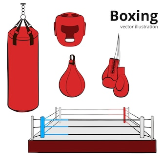 Red hand drawn boxing equipment. boxing gloves, helmet, punching bag, boxing ring and punching ball.   illustration  on white